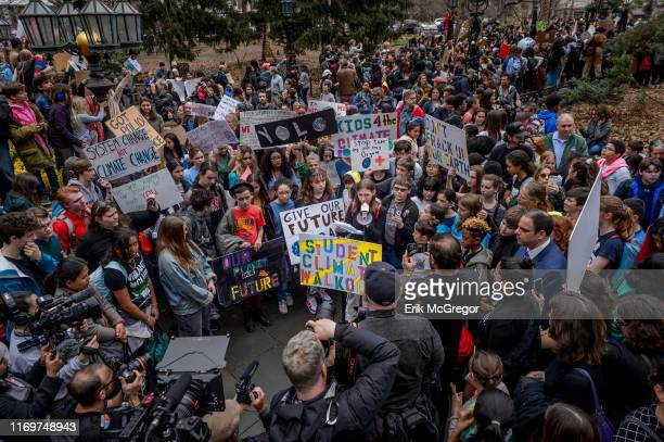Year old climate justice activist Alexandria Villaseñor, Climate Strike at City Hall Park - Thousands of school kids and college students walked out...