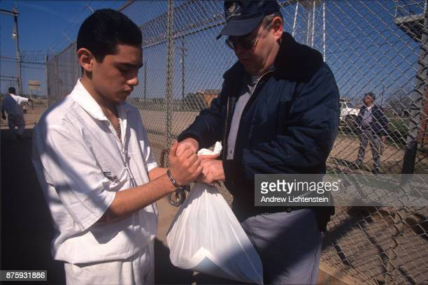 A 16 year old convicted of armed robbery enters prison for the first time at the Clemens Unit on February 10 1997 outside of Brazoria Texas Most of...