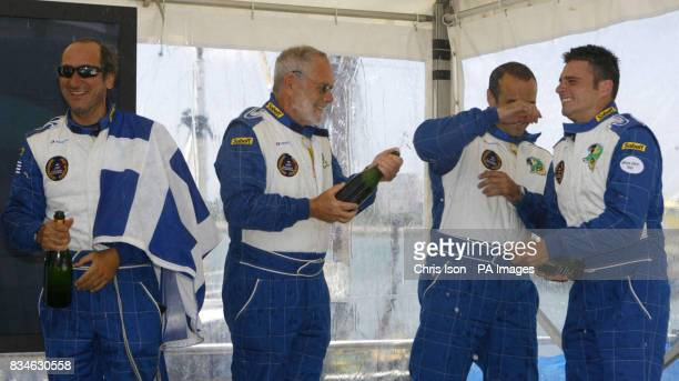 75 year old Dag Pike from Bristol celebrates winning the 2008 Round Britain Offshore Powerboat Race with his Greek teammates Vassilis Pateras Panos...