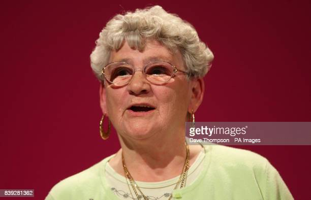 77 year old Doreen Chadwick from Collyhurst Manchester addresses delegates at Manchester Central during the fourth day of the Labour Party Conference...