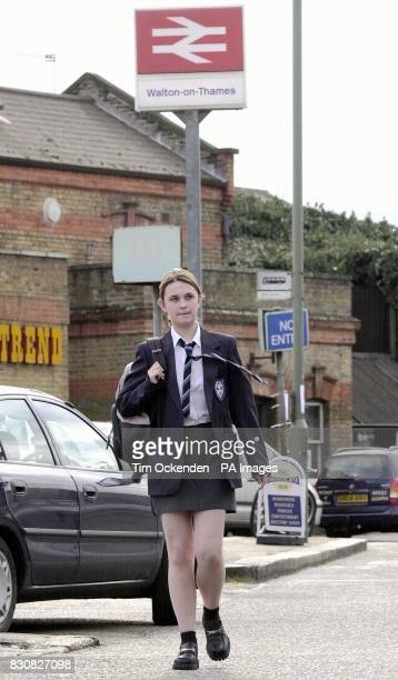 17 year old Elizabeth Pryor at Walton Railway Station during a police reconstruction of the last movements of missing school girl Amanda Dowler from...