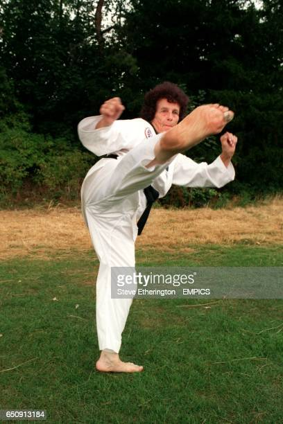 69 year old Ena Smalley from Sherwood Nottingham demonstrates her deadly kick