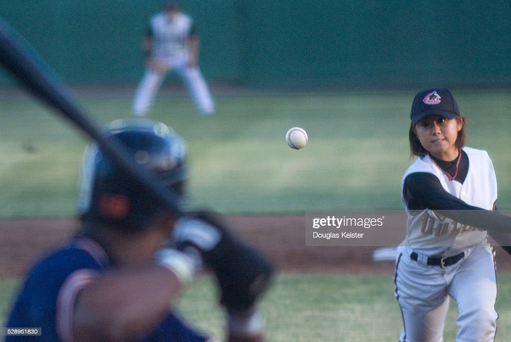 18 Year Old Eri Yoshida The Knuckle Princess Pitches A Knuckleball During Where