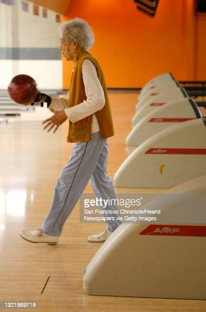 """Year old Frances Catlett, is a member of the ,""""Amazons"""" bowling team that meets each week at the Albany Bowl, in Albany, Calif., to take on other..."""