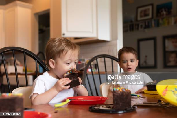 3 year old fraternal twin brothers celebrate 3rd birthday with cake in the house - sugar baby imagens e fotografias de stock