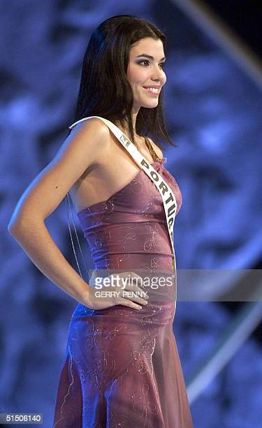 Year old Gilda Dias Pe-Cuerto of Portugal enters the stage contending in the Miss World final in the millenium Dome in London, 30 November 2000 .