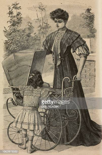 A 46 year old girl in a batiste dress woman wearing a dress in Voile and silk for a convalescent woman a newborn baby in a pram engraving from La...