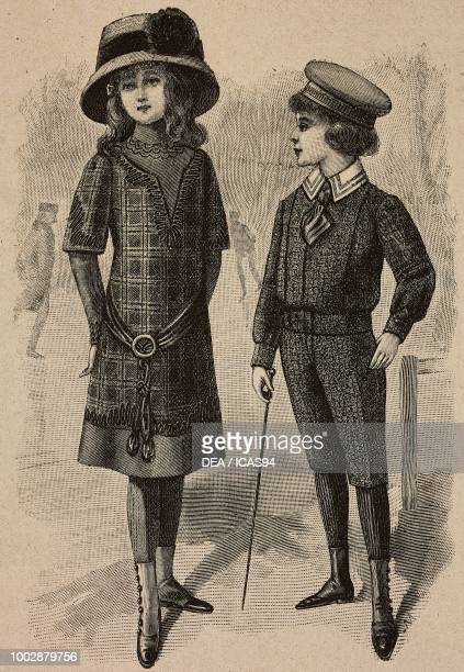 A 911 year old girl in a checkered suit an 810 year old child with kneelength trousers and short jacket engraving from La Mode Illustree No 45...