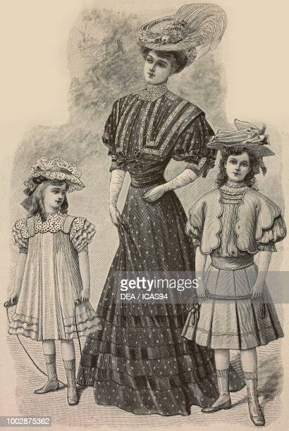 A 68 year old girl in an apron with ruffles woman wearing a polkadot dress and corset with Guipure lace inserts a 911 year old girl in a cloth dress...