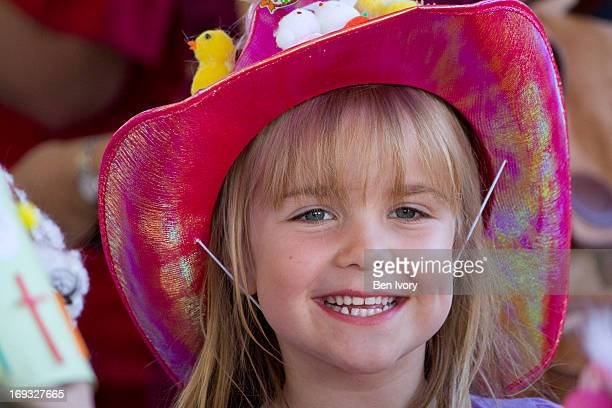 6 year old girl wearing Easter bonnet