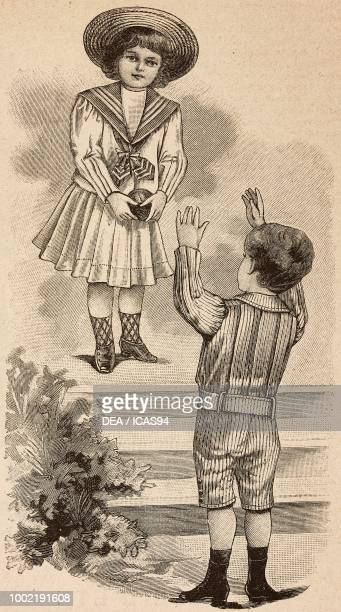 A 34 year old girl with a ball in a sailor dress and a 45 year old boy in a suit with short pants engraving from La Mode Illustree No 27 July 8 1900