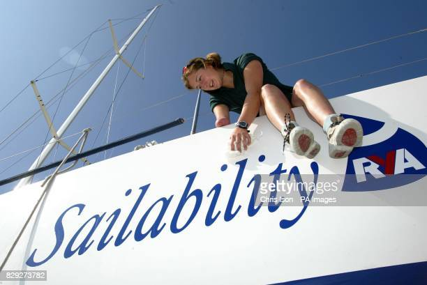 17 year old Hannah Stodel makes the final preparations to her Synergia 40 Sailability yacht in Cowes Isle of Wight for the Admiral's Cup which starts...