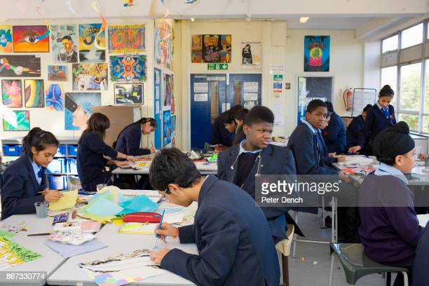14 year old Hindu Tulsi Pankania during Art Class at Villiers High School Art is one of Tulsi's favourite lessons and she regularly attends the after...