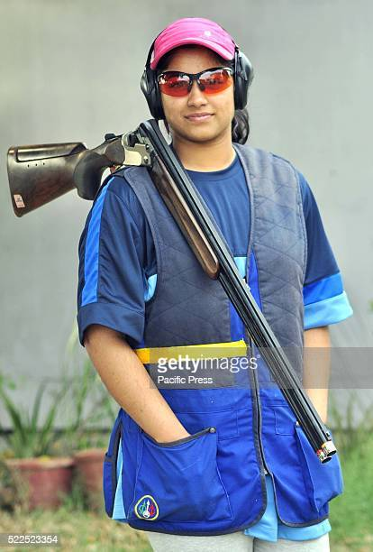 16 year old Indian Woman Shooter Asees Chhina pose for a picture during her practice in preparation for the 3rd ISSF Junior World Cup 2016 in Rifle...