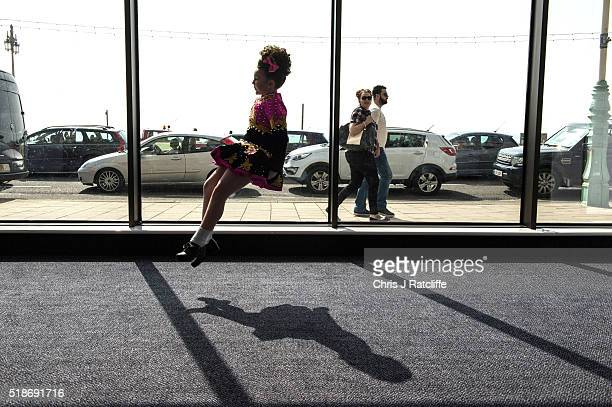 A 12 year old Irish dancer practices in the hallway during the World Irish Dance Championships on April 2 2016 in Brighton England The 8th World and...