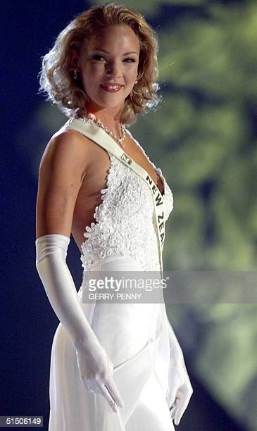 Year old Katherine Allsop-Smith of New Zealand poses on stage during the Miss World final at the Millenium Dome in London, 30 November 2000.
