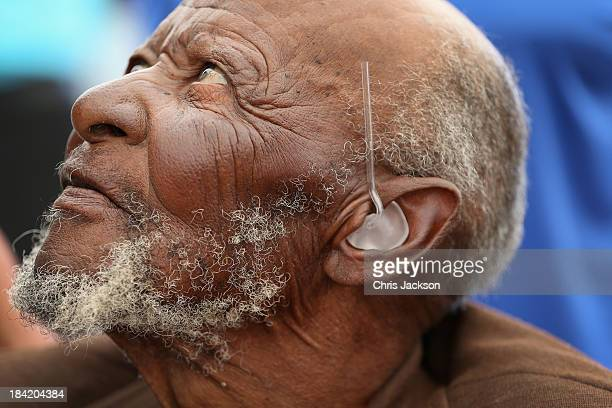 101 year old Libenyane Ntlama has hearing aids fitted by the Starkey Foundation at Lesotho Cooperative College on October 10 2013 in Maseru Lesotho...