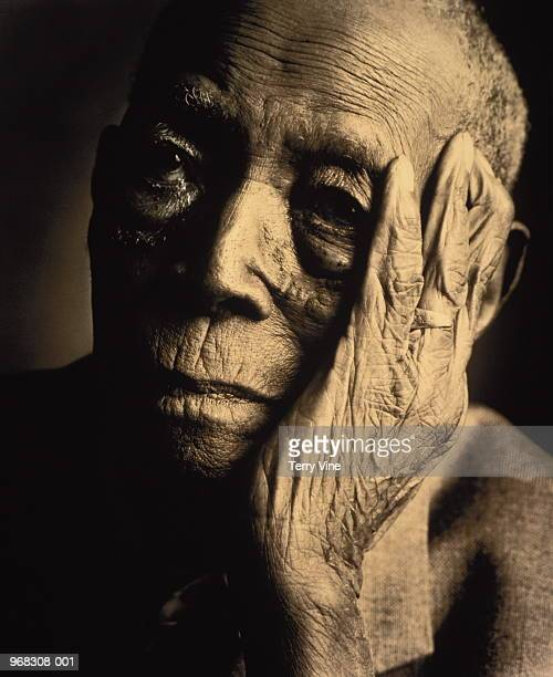 102 year old man, portrait (b&w) - 70 year old man stock pictures, royalty-free photos & images