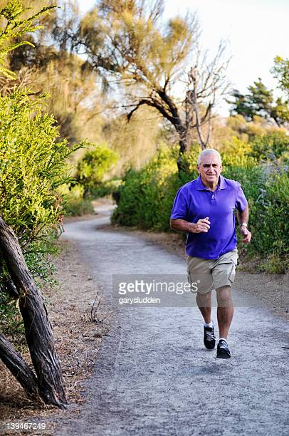 65 year old man running to keep fit