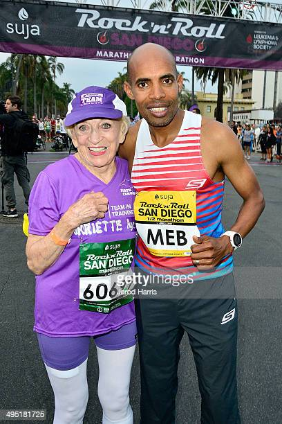 91 year old Marathon runner Harriette Thompson and Boston Marathon winner Meb Keflezighi participate in the Suja Rock 'n' Roll San Diego Marathon...