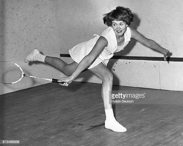 17 year old Marion Bishop in action at the All England Junior Badminton Championships at Wimbledon Squash and Badminton Club