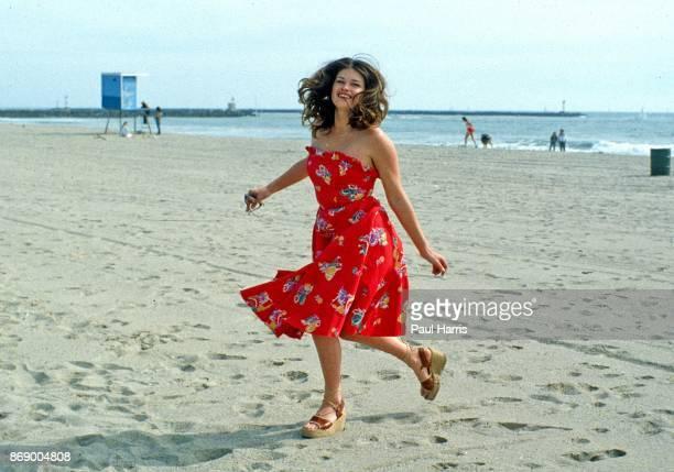 15 year old Mariska Hargitay runs on Hollywood Beach on September 12 1979 in Oxnard California