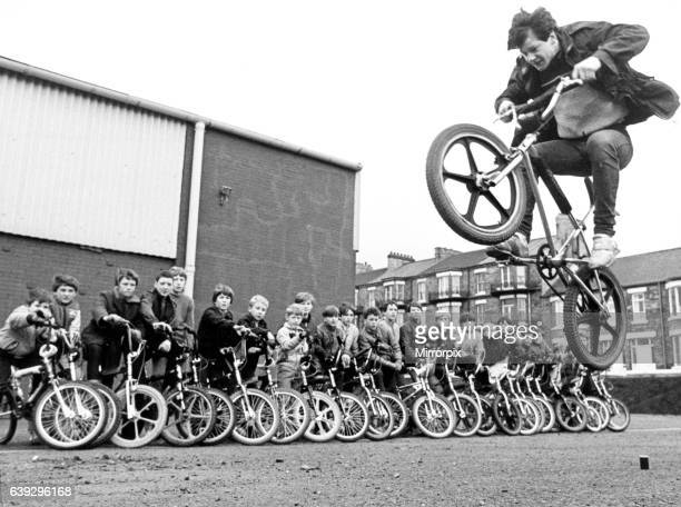 15 year old Martin Brunning in action on a BMX watched by other BMX kids Martin is the spokesman for the group of BMX enthusiasts who are campaigning...
