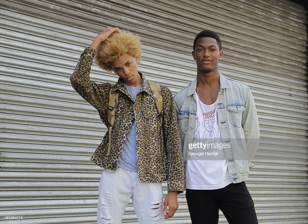 17 year old model Michael Lockley from Brooklyn, New York and 21 year old model Hamid Onifade from Paris seen at Skylight Clarkson Sq, Michael wears Supreme jacket, Hamid wears Allen & Fifth T-shirt, Asos jeans and Levis jacket during New York Fashion Week: Men's S/S 2016 on July 16, 2015 in New York City.