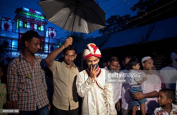32 year old Mohammad Hasamur Rahman arrives to his wedding venue on the day that he will marry 15 year old Nasoin Akhter August 20 2015 in Manikganj...