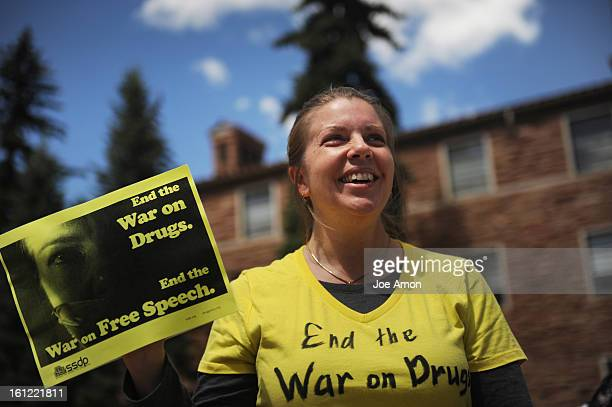 37 year old mother of four Laura Schneider a law student at Colorado University Boulder protesting the closure of the Norlin Quad on it's campus to...