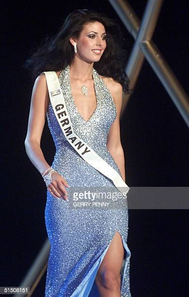 Year old Nicole Natascha Berg of Germany poses on stage during the Miss World final at the Millenium Dome in London, 30 November 2000.