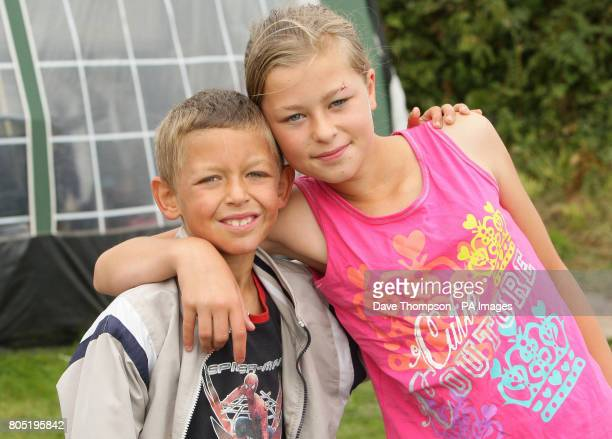 11 year old Paige Dean and her 7yearold brother Cameron at the scene in Benllech Anglesey where Paige cheated death after jumping from her...