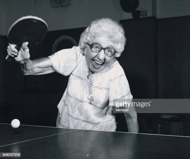 Year old pensioner Edna Brock playing table tennis, Edna has been playing the game for 58 years, 1982.