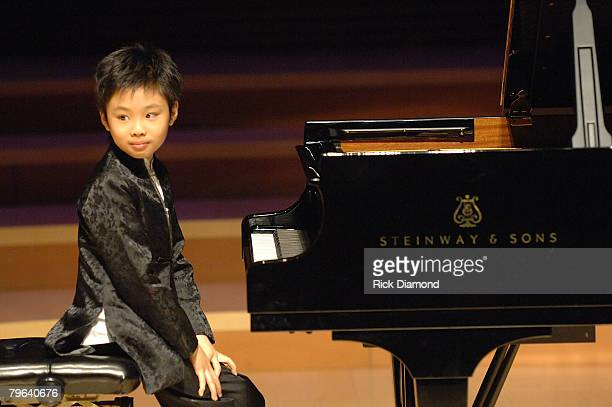 LOS ANGELES CA FEBRUARY 05 9 year old piano prodigy Marc Yu Performs in honor of Piano Virtuosos Lang Lang and Earl Wild Both being honored as part...