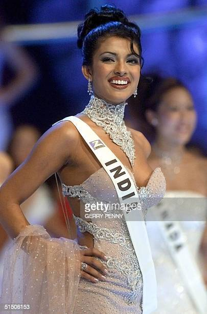 18 year old Priyanka Chopra of India poses on stage during the Miss World final at the Millenium Dome in London 30 November 2000 Chopra won the...
