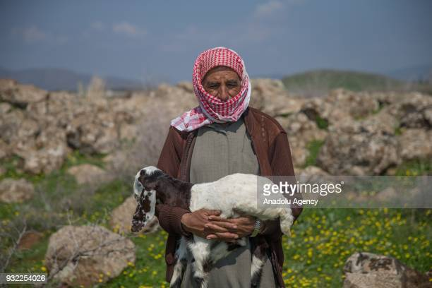 57 year old stockbreeder Saleh Hammud poses for a photo as he speaks to press during an exclusive interview after his village cleared from...
