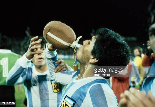 18 year old striker Diego Maradona takes a drink of water after a FIFA 75th Anniversary Match between Argentina and Holland in Berne Switzerland 22nd...
