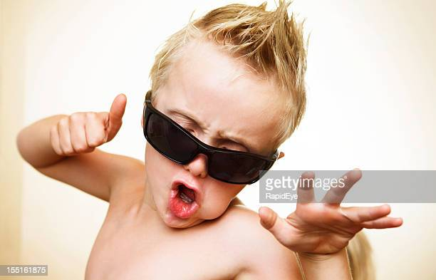6 year old wannabe rock star having fun - 6 point star stock pictures, royalty-free photos & images
