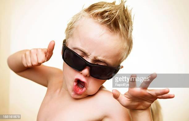 6 year old wannabe rock star having fun