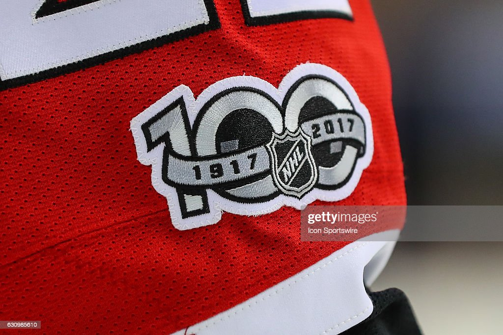 Year patch on the uniform of New Jersey Devils defenseman Kyle Quincey (22) during the second period of the National Hockey League game between the New Jersey Devils and the Boston Bruins on January 02, 2017, at the Prudential Center in Newark, NJ.