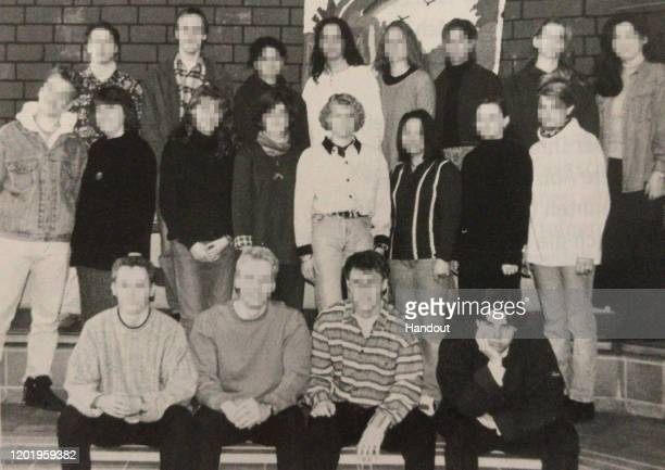 A 1996 yearbook photo of Tobias Rathjen bottom right who is suspected of killing 10 people and himself in Hanau Germany The picture was taken at Hohe...