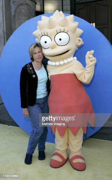 Yeardley Smith with Lisa Simpson during 'The Simpsons' 350th Episode Block Party Arrivals at Fox Pico Lot in Los Angeles California United States