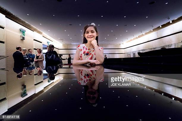 11 yearold Alma Deutscher poses for a photographer in The Wiener Musikverein in Vienna on October 6 2016 The British 11yearold's opera 'Cinderella'...