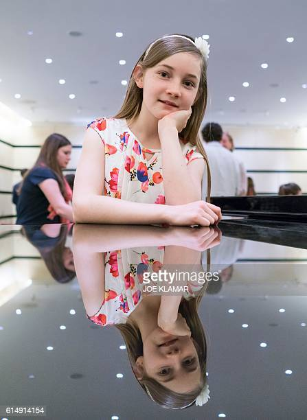 11 yearold Alma Deutscher poses for a photographer in The Wiener Musikverein in Vienna on October 6 2016 The British 11yearold's opera 'Cinderella'...