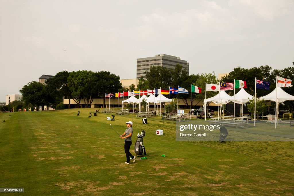 17 year-old amateur Eun Jeong Seong of South Korea practices on the driving range after the completion of the third round of the Volunteers of America North Texas Shootout at Las Colinas Country Club on April 29, 2017 in Irving, Texas.