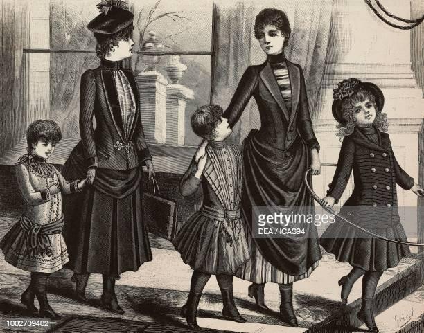 A 46 yearold boy in a polkadot dress a 1315 yearold girl in a skirt and jacket a 68 yearold girl in a pleated dress a 1214 yearold girl in a draped...