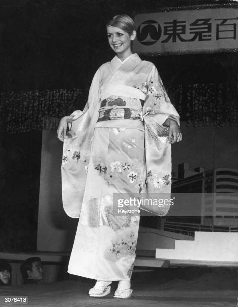 Year-old British fashion model Twiggy in a Kimono at a fashion show held at a Tokyo department store, 3rd November 1967.