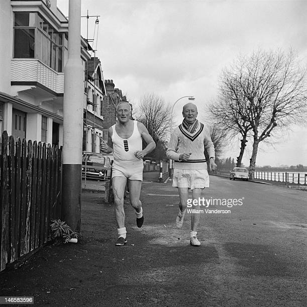 72 yearold British rower Jack Beresford in training with his friend Lawrie Fraser on the eve of the over 70's Head of the River Race 25th April 1969...