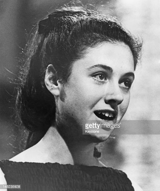 16 yearold Italian singer Gigliola Cinquetti singing the winning song song 'Non ho l'eta' at the Eurovision Song Contest held at the Tivolis...