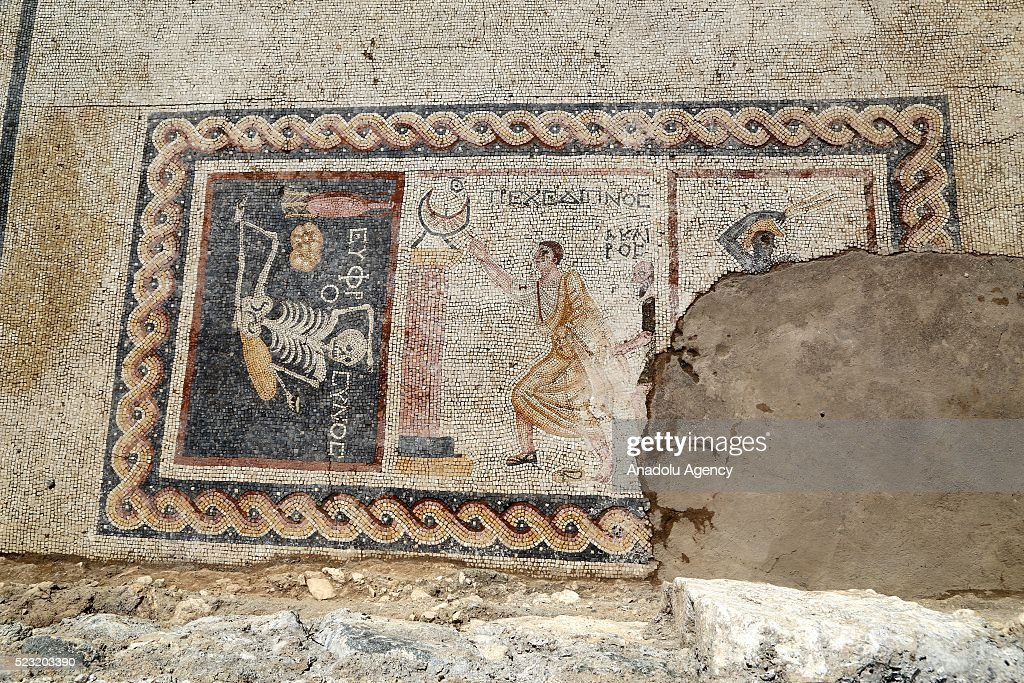 """2,400 year-old mosaic found in Turkey's Hatay says """"Be cheerful, enjoy your life"""" : News Photo"""